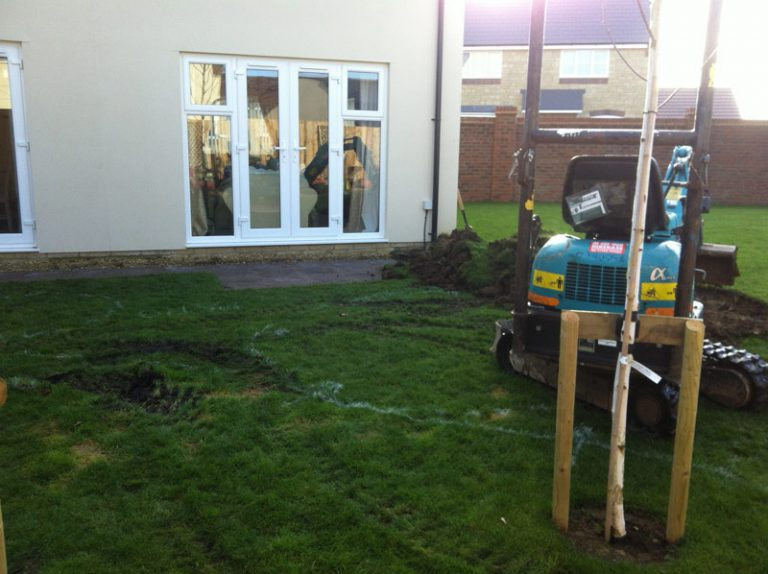 In progress paving landscaping Turfing, Landscaping design, paving and walls, decking, block paving and driveway, planting, ponds and water features, gates and fences, garden sheds, patios and terraces in Calne, Devizes