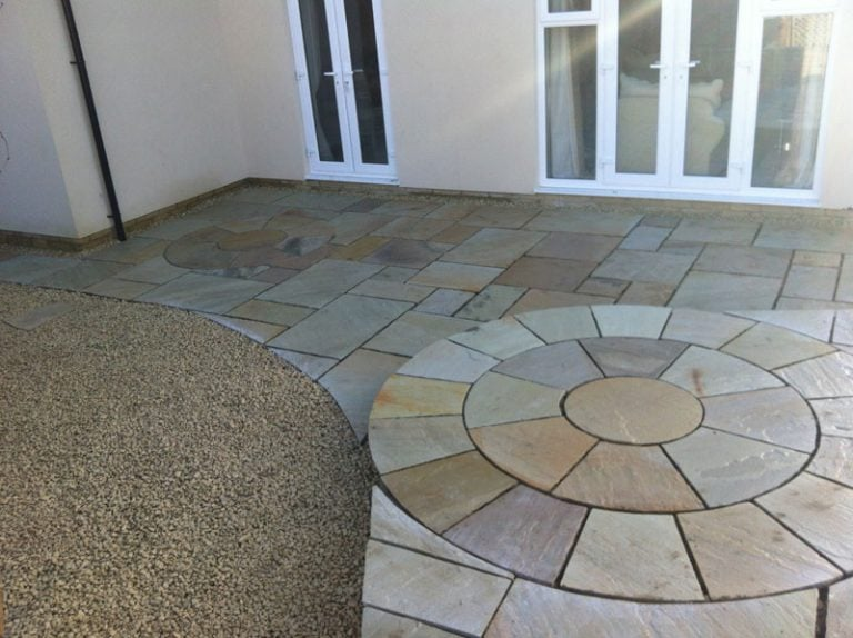 Completed paving landscaping Turfing, Landscaping design, paving and walls, decking, block paving and driveway, planting, ponds and water features, gates and fences, garden sheds, patios and terraces in Calne, Devizes