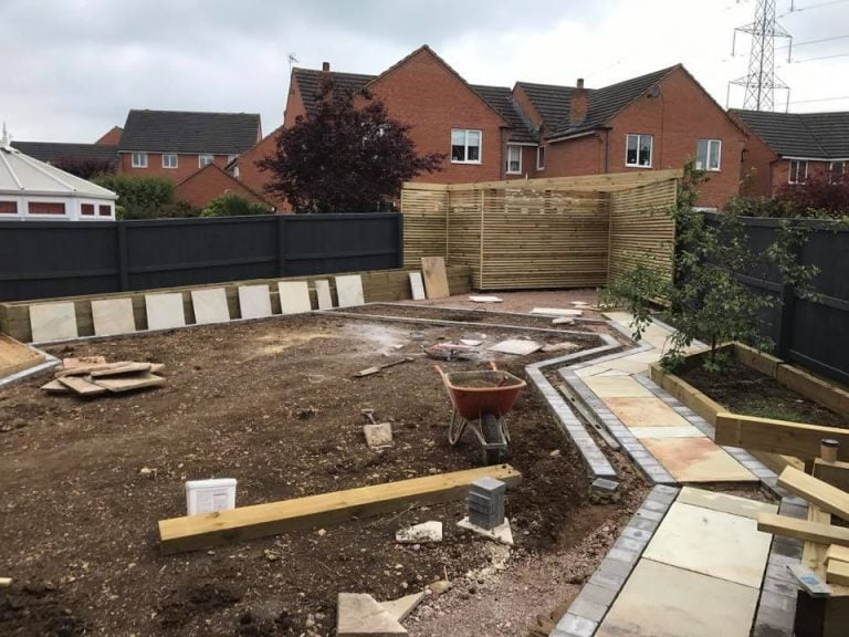 Landscaping in progress, construction, Turfing, Landscaping design, paving and walls, decking, block paving and driveway, planting, ponds and water features, gates and fences, garden sheds, patios and terraces in Calne, Devizes