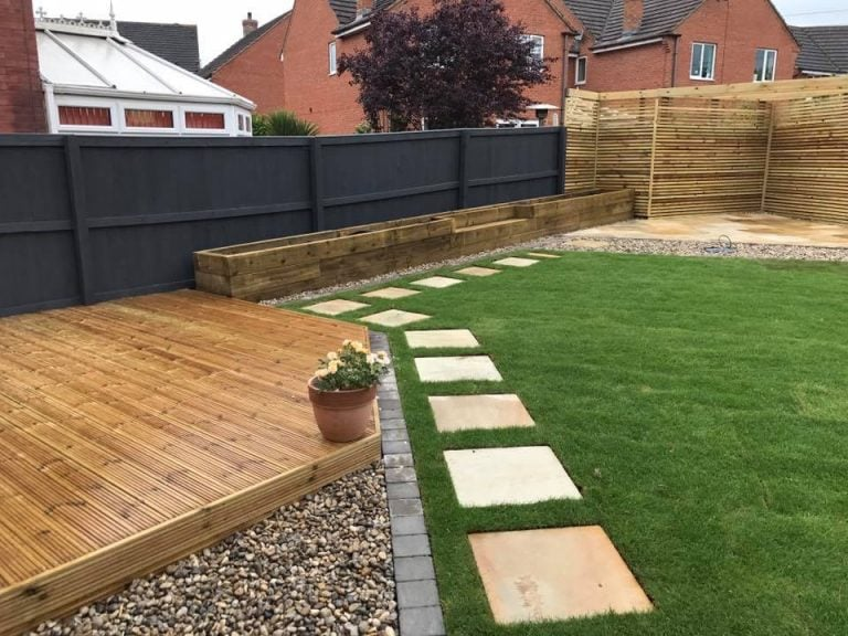 Astroturfed garden with paving slabs, Turfing, Landscaping design, paving and walls, decking, block paving and driveway, planting, ponds and water features, gates and fences, garden sheds, patios and terraces in Calne, Devizes
