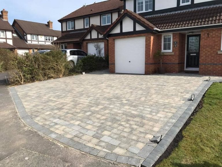 Stone driveway paving completed with modern building and garage, Turfing, Landscaping design, paving and walls, decking, block paving and driveway, planting, ponds and water features, gates and fences, garden sheds, patios and terraces in Calne, Devizes