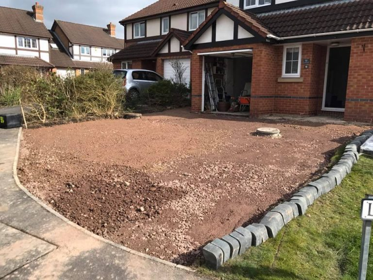 Stone driveway paving before with modern building and garage, Turfing, Landscaping design, paving and walls, decking, block paving and driveway, planting, ponds and water features, gates and fences, garden sheds, patios and terraces in Calne, Devizes