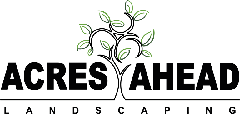 """Acres Ahead Landscaping"" logo, Turfing, Landscaping design, paving and walls, decking, block paving and driveway, planting, ponds and water features, gates and fences, garden sheds, patios and terraces in Calne, Devizes"